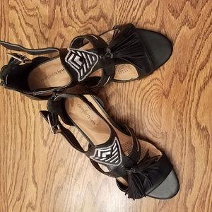 Comfortview Black Fringed Sandals with Zipper back